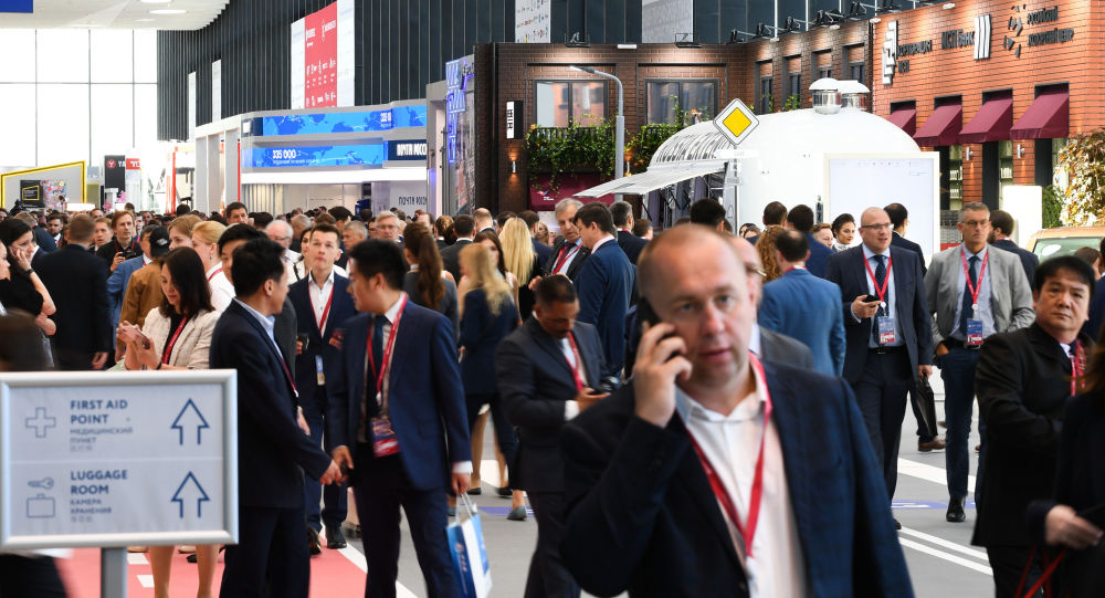 SPIEF 2019 visitors on one of the streets