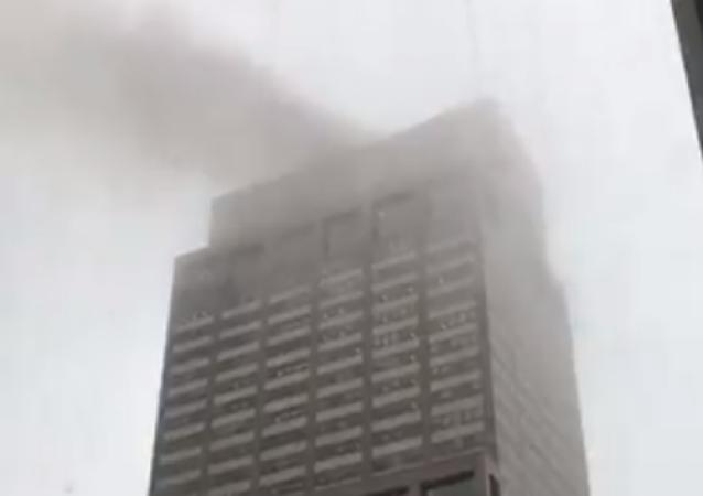 Screenshot of fire following helicopter crash in Manhattan.