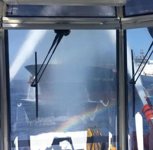 A handout photo made available by the Norwegian shipowner Frontline of the crude oil tanker Front Altair during the firefighting of the fire onboard the ship in the Gulf of Oman