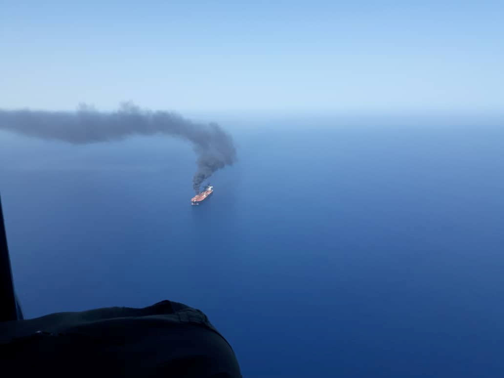 An oil tanker is seen after it was attacked in the Gulf of Oman, June 13, 2019