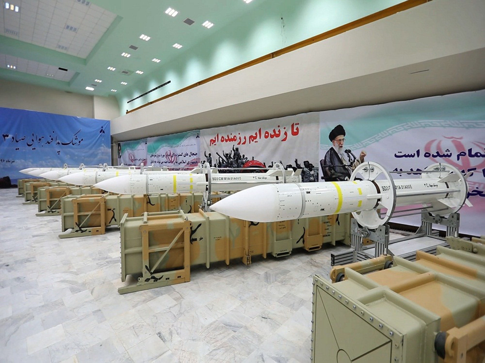 This picture released by the official website of the Iranian Defense Ministry on Saturday, July 22, 2017, shows Sayyad-3 air defense missiles during inauguration of its production line at an undisclosed location, Iran, according to official information released. Sayyad-3 is an upgrade to previous versions of the missile