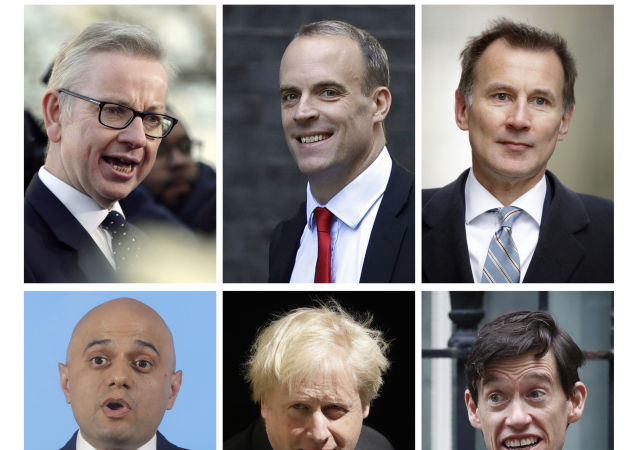 Top from left: Michael Gove, Dominic Raab, Jeremy Hunt, and bottom from left: Sajid Javid, Boris Johnson, Rory Stewart.