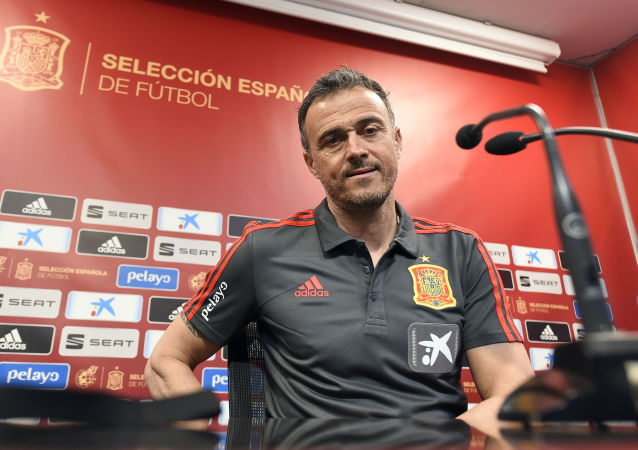 Spain's coach Luis Enrique holds a press conference at the Mestalla stadium in Valencia on March 22, 2019 on eve of the Euro 2020 qualifying match Spain vs Norway
