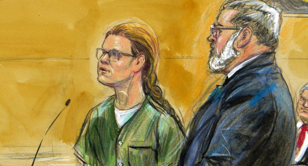 Maria Butina, left, is shown next to her attorney Robert Driscoll, before U.S. District Judge Tanya Chutkan