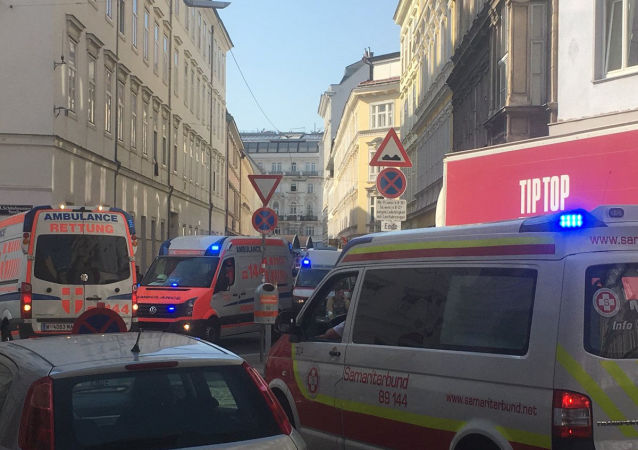 Ambulances are seen near the site of a partial building collapse in Vienna, Austria, June 26, 2019 in this picture obtained from social media.