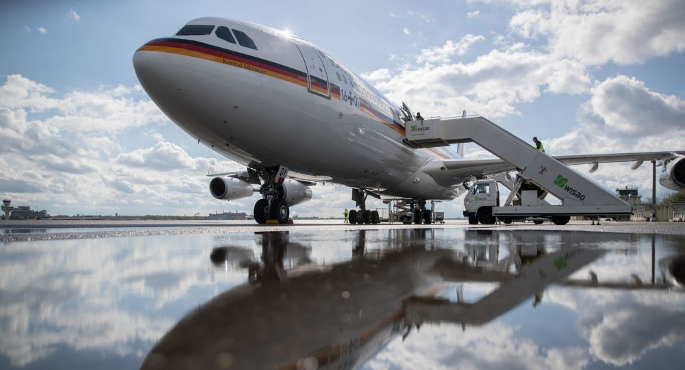 The Konrad Adenauer Airbus A340 waits to take German Chancellor Angela Merkel to Washington for talks with US President Donald Trump on April 26, 2018 at the military section of Tegel Airport in Berlin