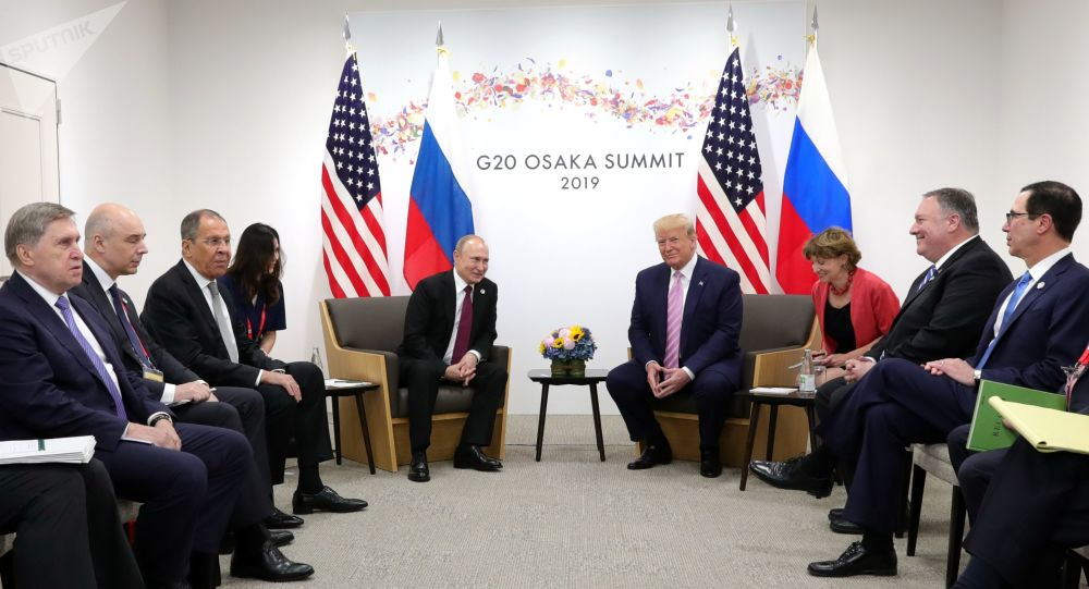 Delegations, led by Russia's President Vladimir Putin and U.S. President Donald Trump, hold talks on the sidelines of the G20 summit in Osaka, Japan June 28, 2019
