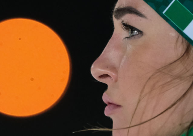 Italy's Dorothea Wierer reacts during the training session at the World Cup biathlon in Nove Mesto, the Czech Republic.