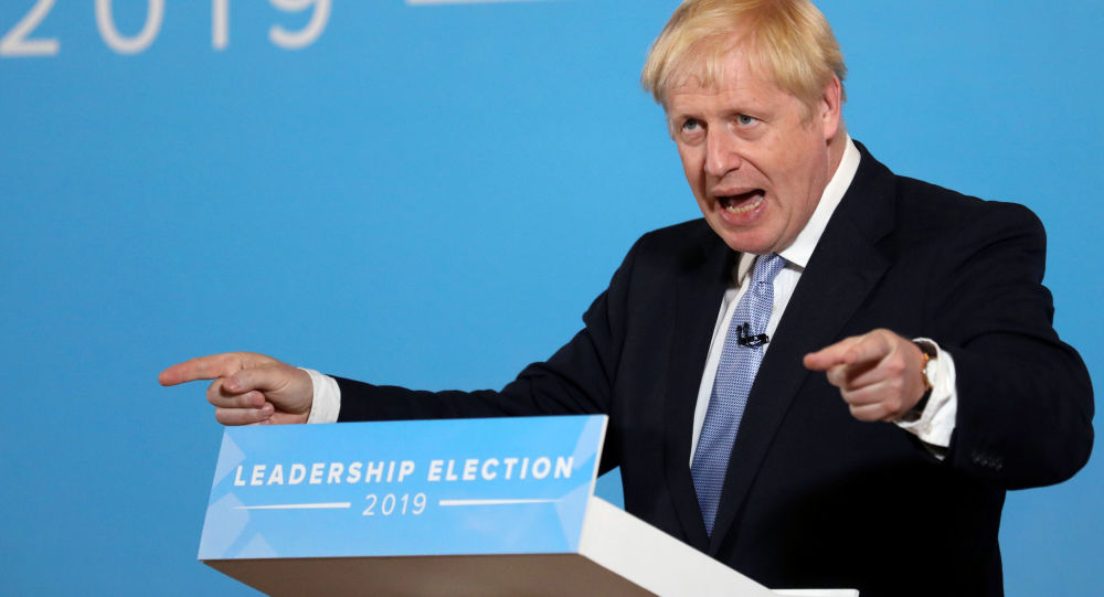 Boris Johnson, a leadership candidate for Britain's Conservative Party, speaks during a hustings event in Belfast, Northern Ireland, July 2, 2019