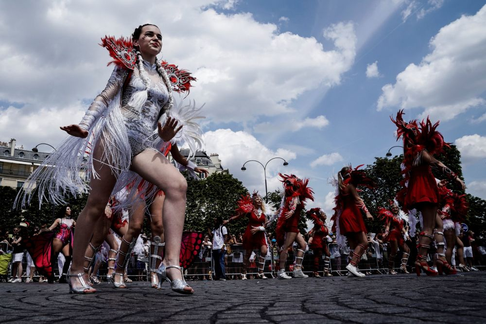 Participants of the Tropical Carnival in Paris.