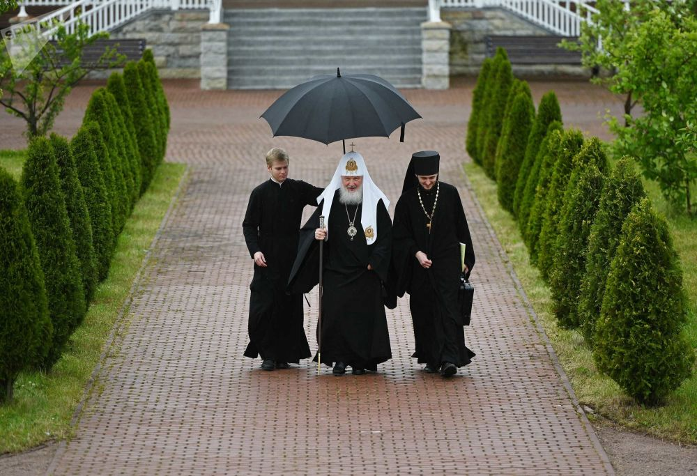 Patriarch of Moscow and All Russia Kirill before the meeting of the Holy Synod of the Russian Orthodox Church at the Spaso-Preobrazhensky Cathedral of the Valaam Monastery