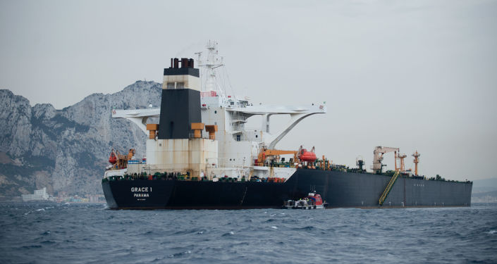 A picture shows supertanker Grace 1 off the coast of Gibraltar on July 6, 2019
