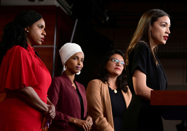 U.S. Reps Ayanna Pressley (D-MA), Ilhan Omar (D-MN), Rashida Tlaib (D-MI) and Alexandria Ocasio-Cortez (D-NY) hold a news conference after Democrats in the U.S. Congress moved to formally condemn President Donald Trump's attacks on the four minority congresswomen on Capitol Hill in Washington, U.S., July 15, 2019