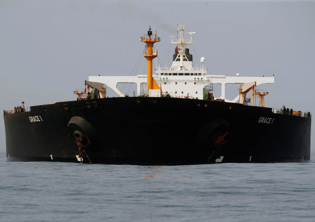 Iranian oil tanker Grace 1 sits anchored after it was seized earlier this month by British Royal Marines off the coast of the British Mediterranean territory on suspicion of violating sanctions against Syria, in the Strait of Gibraltar, southern Spain July 20, 2019