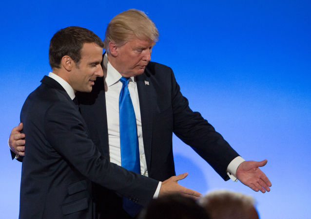US President Donald Trump (right) and French President Emmanuel Macron after a joint press conference