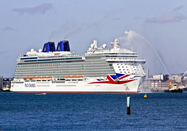 P&O cruise ship Britannia arriving for the first time in Southampton Docks