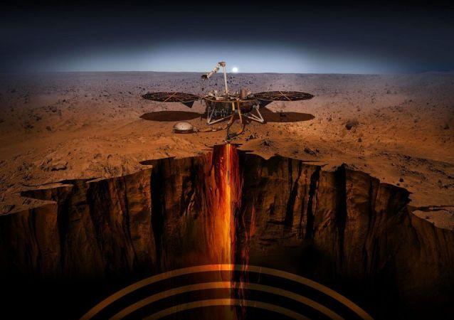An artist illustration of the InSight lander on Mars