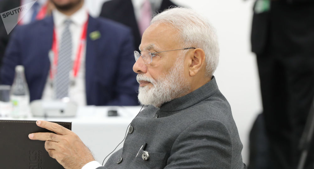 India's Prime Minister Narendra Modi attends a meeting of the BRICS heads of state on the sidelines of the Group of 20 (G20) leaders summit in Osaka, Japan