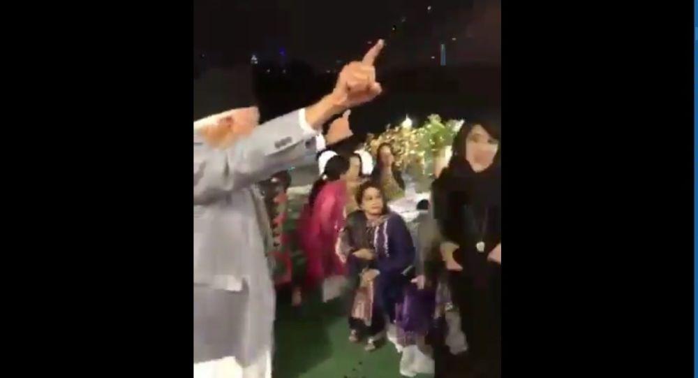 Screenshot of a video showing Kashmiri leader Farooq Abdullah dancing