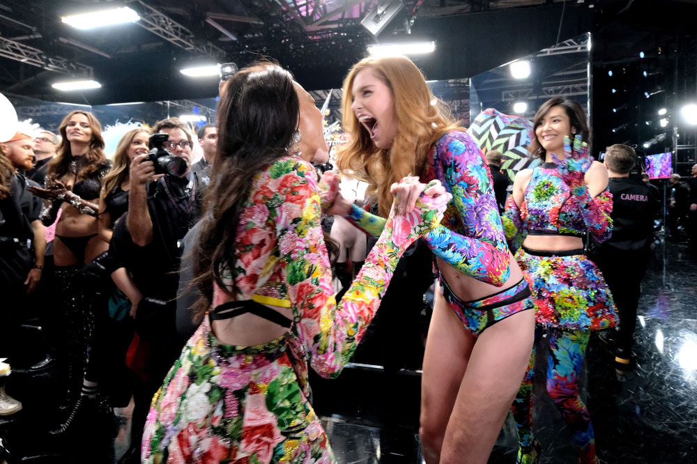 Victoria's Secret runway models react during the 2018 Victoria's Secret Fashion Show at Pier 94 on 8 November 2018 in New York City.
