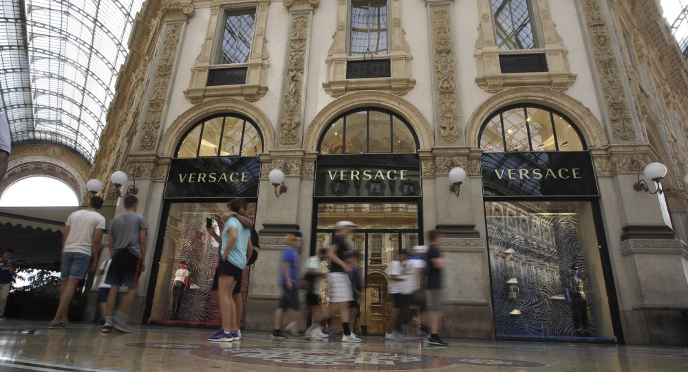 A view of the Versace fashion brand shop at the galleria Vittorio Emanuele II, in Milan, Italy, Thursday, Aug. 1, 2019.