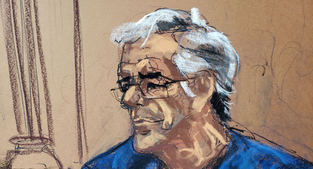 US financier Jeffrey Epstein looks on during a bail hearing in his sex trafficking case, in this court sketch in New York, U.S., July 18, 2019.
