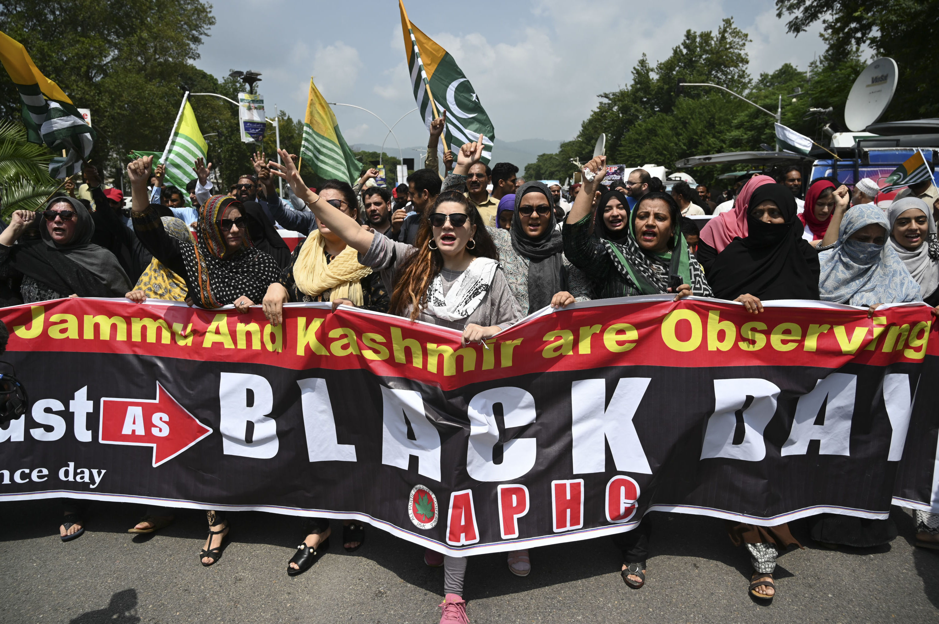 Protesters of the All Parties Hurriyat Conference (APHC) shout anti-Indian slogans near the Indian High Commission during a protest rally in Islamabad