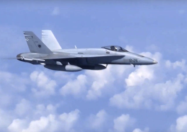 In this video grab taken from a footage on Aug. 13, 2019, and distributed by Russian Defense Ministry Press Service, a NATO F-18 warplane is viewed from the window of a passenger plane carrying Russian Defense Minister Sergei Shoigu over the Baltic Sea.