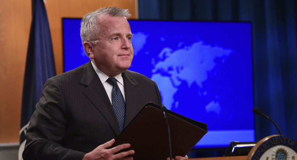 Acting Secretary of State John Sullivan finishes speaking about the release of the 2017 country reports on human rights practices during a news conference at the State Department in Washington, Friday, April 20, 2018.