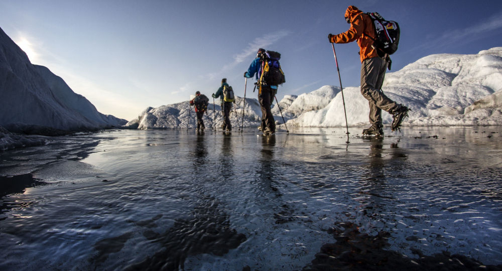 Petr Kraus and friends walk on the Ice Cap in Greenland