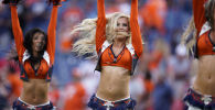 The Denver Broncos cheerleaders perform during an NFL preseason football game against the San Francisco 49ers, Monday, Aug. 19, 2019, in Denver.