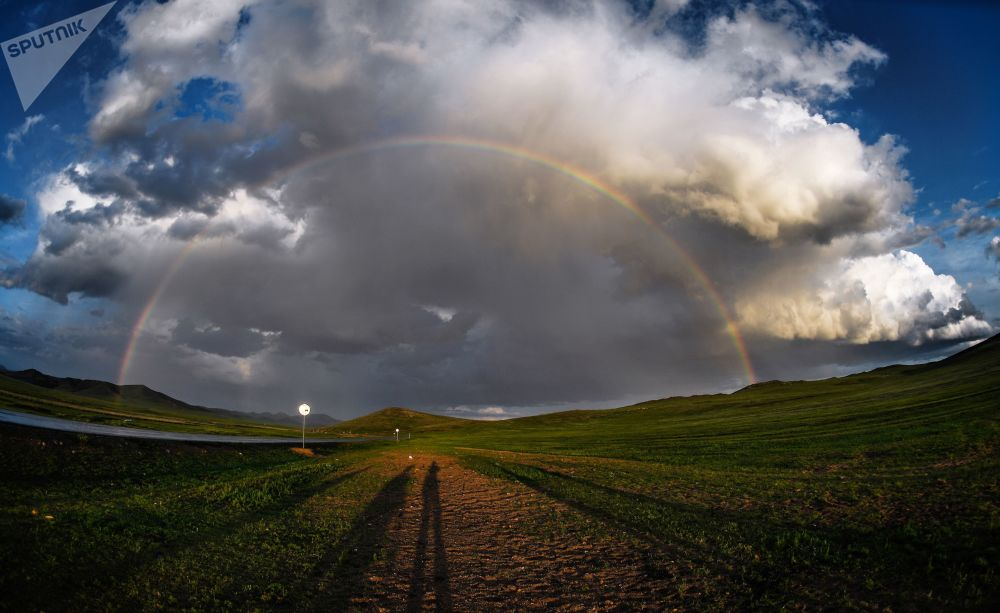 A rainbow in a village in Mongolia.