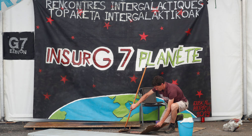 Opponents of the Biarritz G7 Summit attend a counter-summit organised by alter-globalisation activists, labour unions and other left-wing groups in Hendaye, France, 23 August 2019.