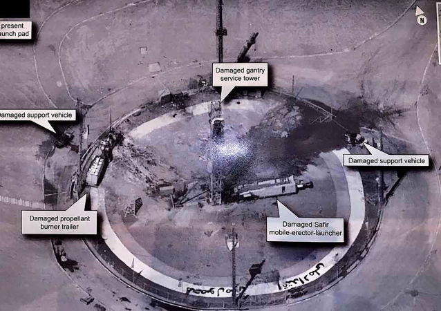 This image taken from the Twitter account of President Donald J. Trump, @realDonaldTrump, shows an undated photo of the aftermath of an explosion at Iran's Imam Khomeini Space Center in the country's Semnan province