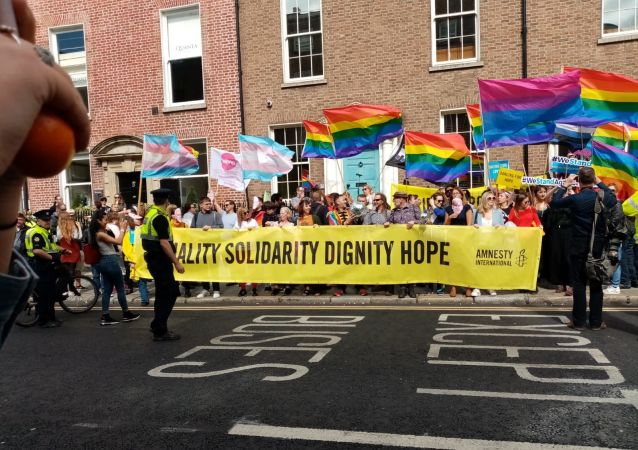 Protest in Dublin, Ireland against US Vice President Pence's visit