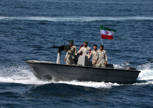 Iranian soldiers take part in the National Persian Gulf day  in the Strait of Hormuz, on April 30, 2019