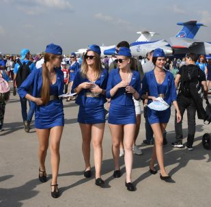 Girls at the MAKS-2019 international aviation and space show in Zhukovsky outside Moscow