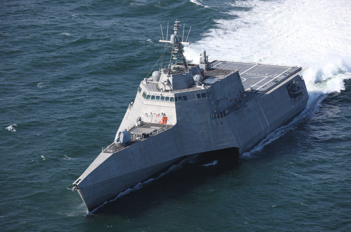 Independence-class littoral combat ship USS Tulsa undergoing trials (US Navy handout)