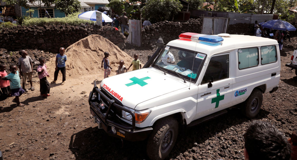 An ambulance waits next to a health clinic to transport a suspected Ebola patient, in Goma in the Democratic Republic of Congo, August 5, 2019
