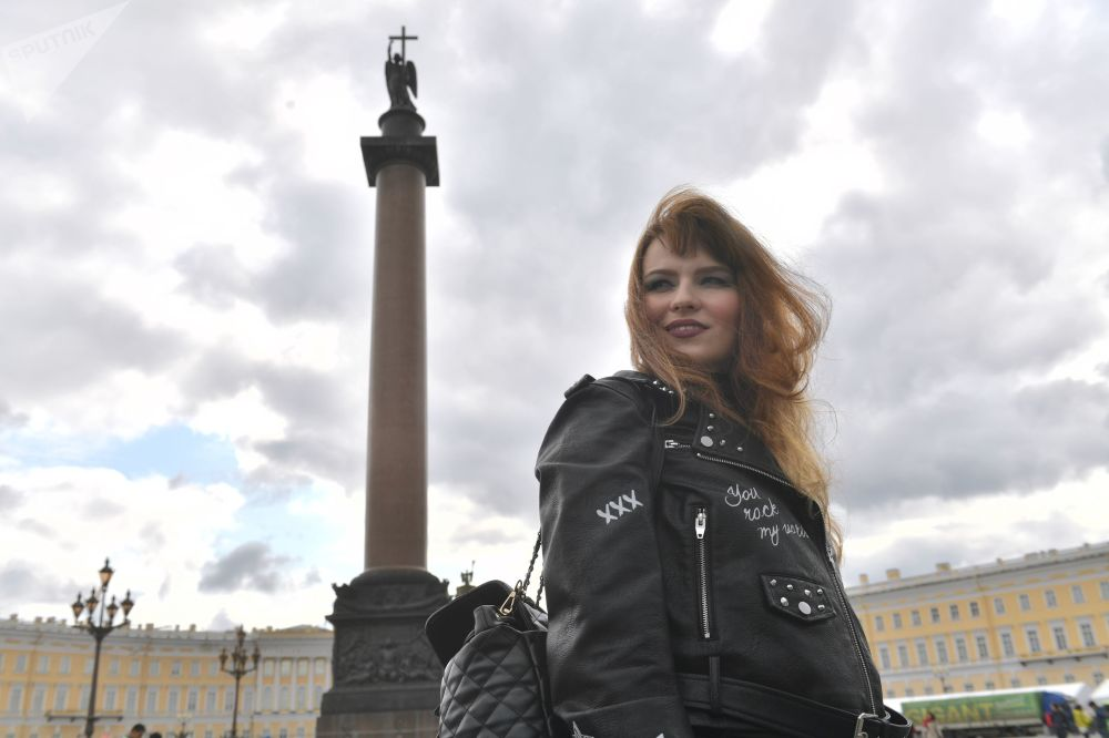 Girl takes part in Saint Petersburg Harley Days motor festival