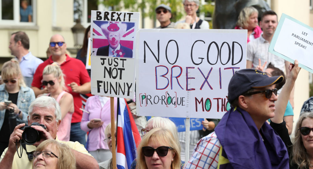 People hold placards as they protest outside a restaurant where British Prime Minister Boris Johnson met with European Commission President Jean-Claude Juncker in Luxembourg, September 16, 2019.