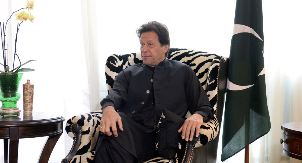 Pakistani Prime Minister Imran Khan sits during a meeting with U.S. Secrretary of State Mike Pompeo (not pictured) in Washington, U.S., July 23, 2019