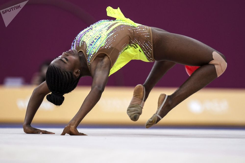Angola's Alice Tomas in the middle of her routine