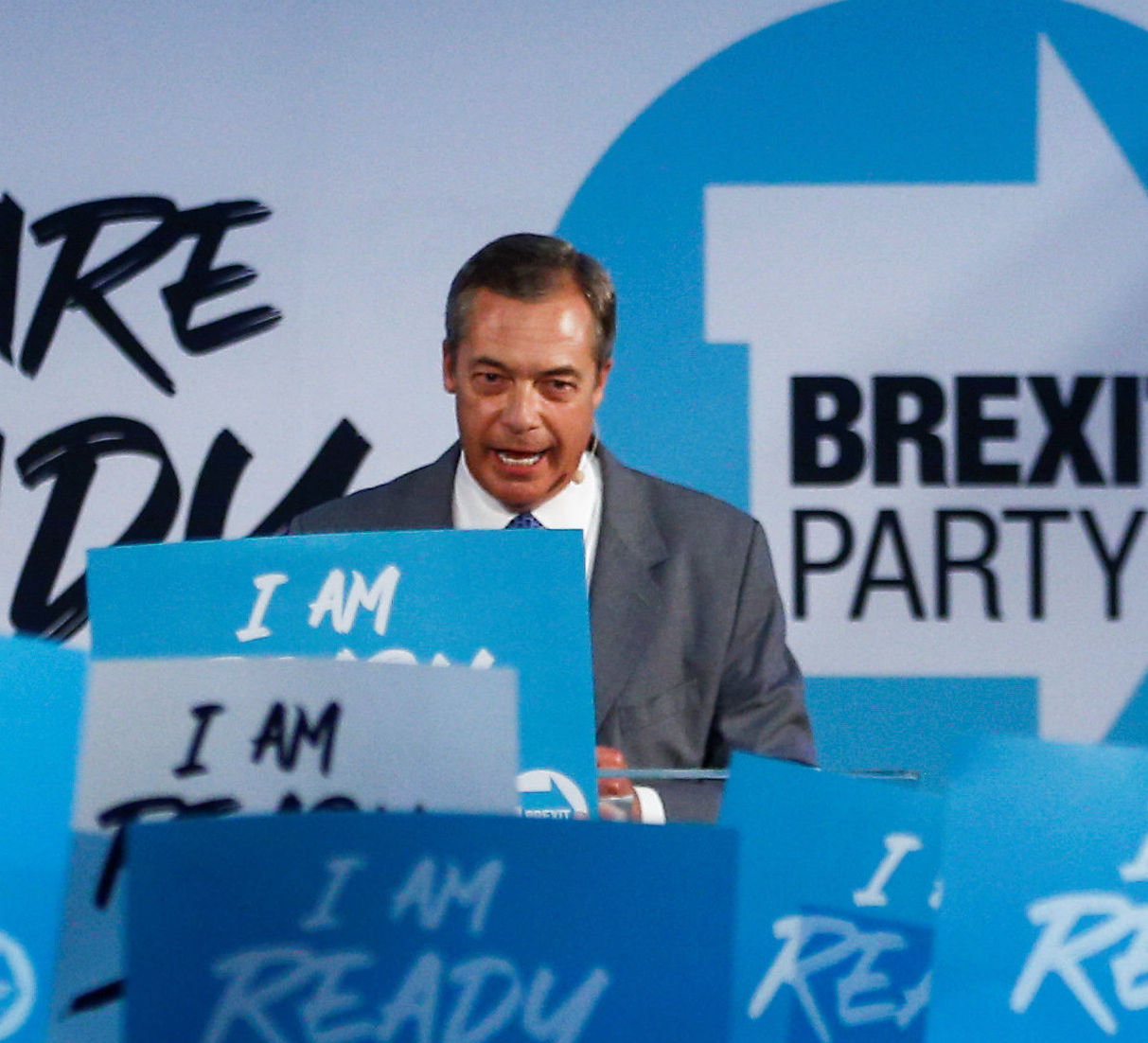 Brexit Party leader Nigel Farage speaks during a Brexit Party news conference in London, Britain August 27, 2019
