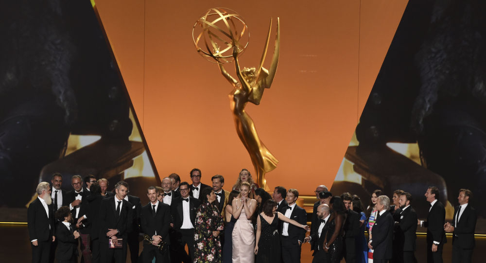 The cast and crew of Game Of Thrones accepts the award for outstanding drama series at the 71st Primetime Emmy Awards on Sunday, Sept. 22, 2019, at the Microsoft Theater in Los Angeles.