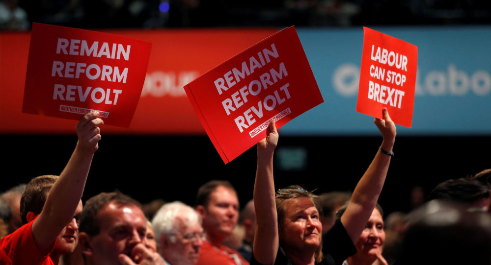 Labour party supporters hold anti-Brexit signs during the Labour party annual conference in Brighton, Britain September 23, 2019.