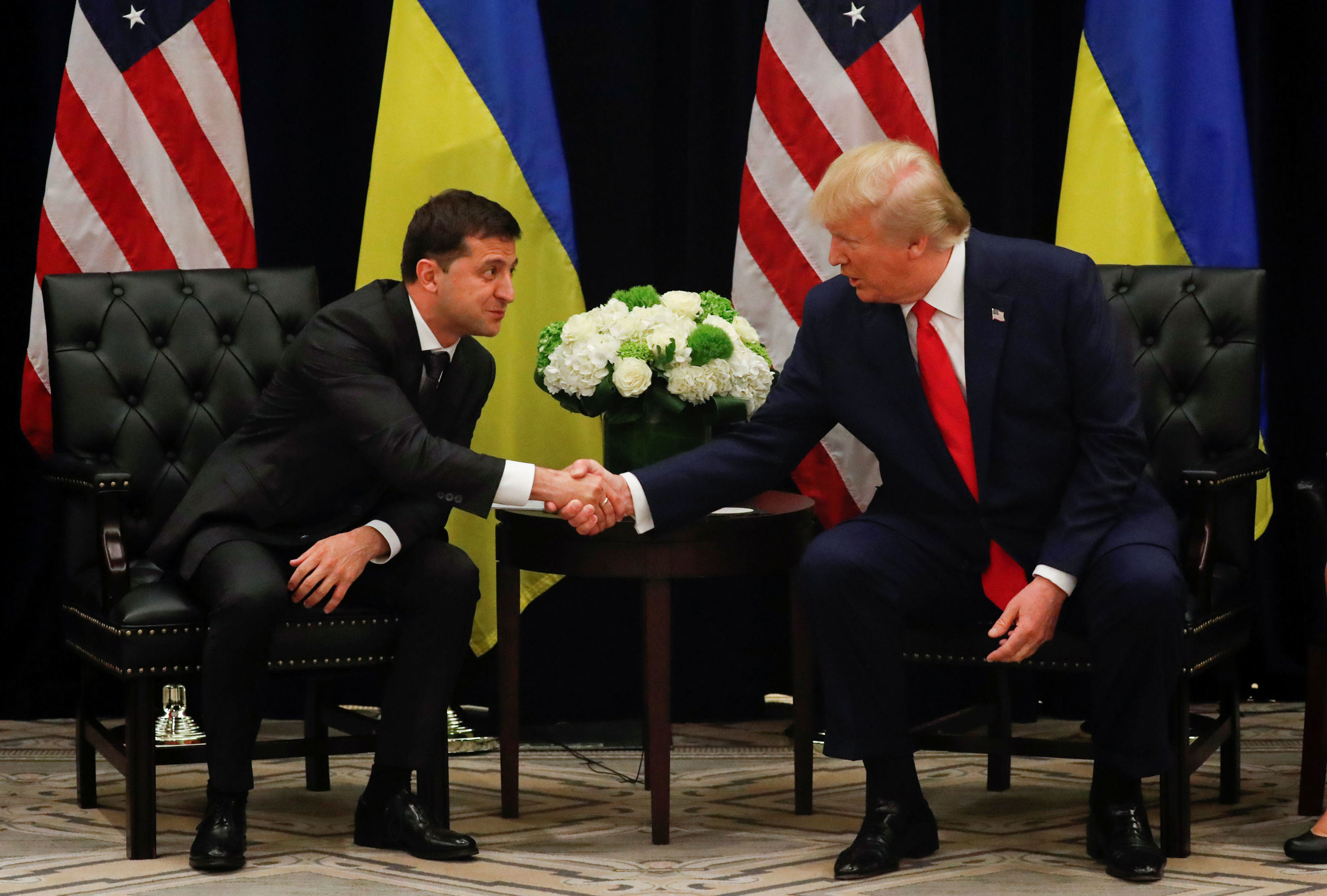 U.S. President Donald Trump shakes hands with Ukraine's President Volodymyr Zelensky during a bilateral meeting on the sidelines of the 74th session of the United Nations General Assembly (UNGA) in New York City, New York, U.S., September 25, 2019
