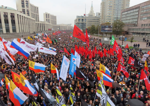 People attend a rally to demand the release of jailed protesters, who were detained during opposition demonstrations for fair elections, in Moscow, Russia September 29, 2019
