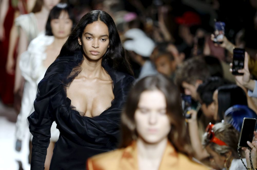 A model presents a creation by Y/Project during the Women's Spring-Summer 2020 Ready-to-Wear collection fashion show, at Le Bridge, in Paris, on September 26, 2019.