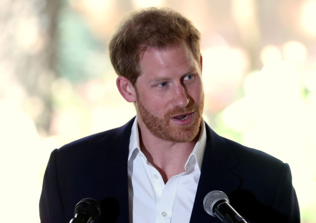 Britain's Prince Harry delivers a statement before meeting Graca Machel, the widow of the late Nelson Mandela, at the British High Commissioner's residence, Johannesburg, South Africa, October 2, 2019